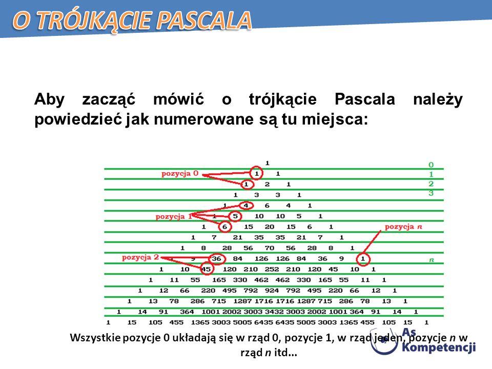 Aby zacząć mówić o trójkącie Pascala należy powiedzieć jak numerowane są tu miejsca: Wszystkie pozycje 0 układają się w rząd 0, pozycje 1, w rząd jeden, pozycje n w rząd n itd...
