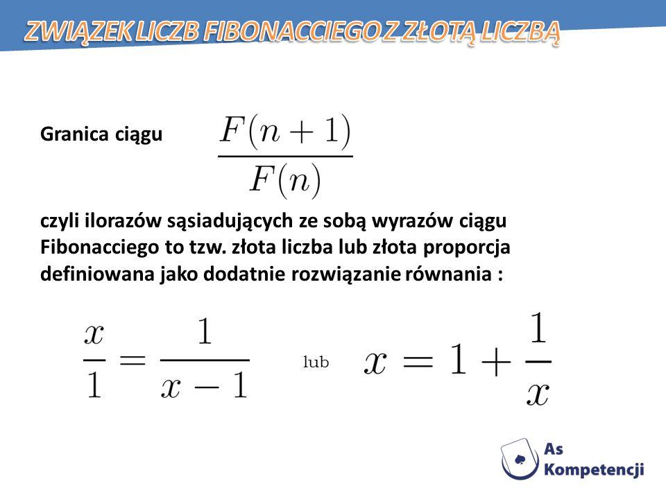 Granica ciągu czyli ilorazów sąsiadujących ze sobą wyrazów ciągu Fibonacciego to tzw.