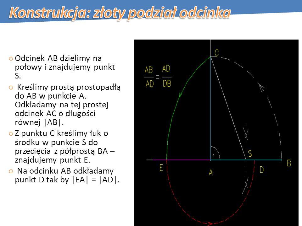 Odcinek AB dzielimy na połowy i znajdujemy punkt S.
