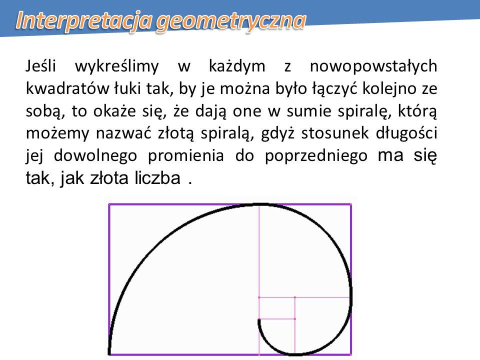 Jeśli wykreślimy w każdym z nowopowstałych kwadratów łuki tak, by je można było łączyć kolejno ze sobą, to okaże się, że dają one w sumie spiralę, którą możemy nazwać złotą spiralą, gdyż stosunek długości jej dowolnego promienia do poprzedniego ma się tak, jak złota liczba.