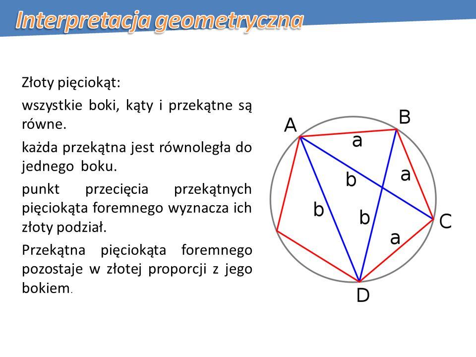Złoty pięciokąt: wszystkie boki, kąty i przekątne są równe.