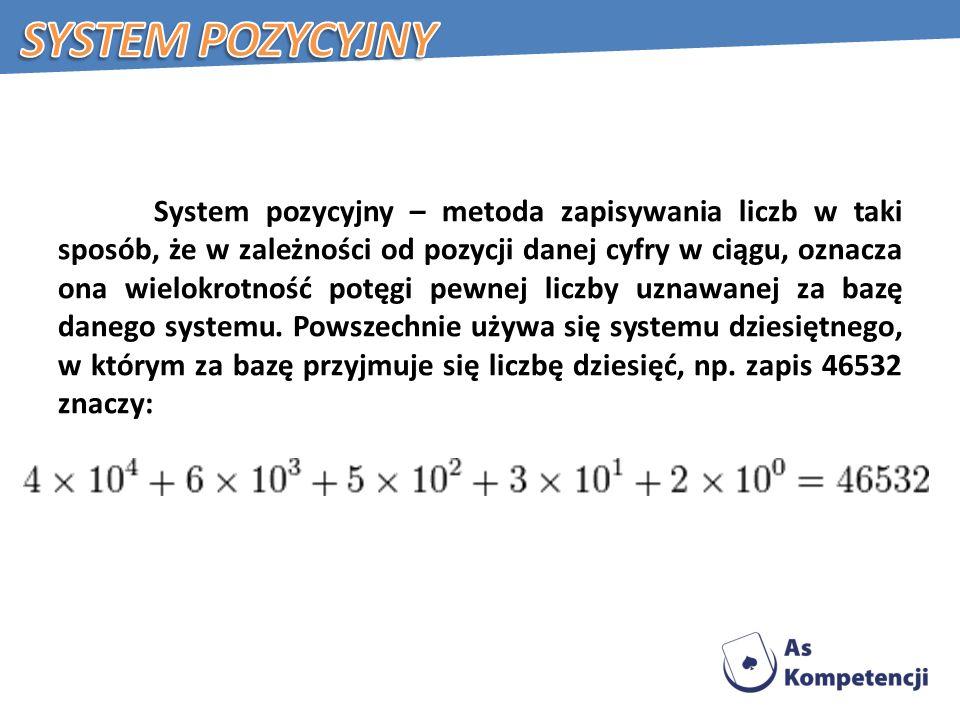 System pozycyjny – metoda zapisywania liczb w taki sposób, że w zależności od pozycji danej cyfry w ciągu, oznacza ona wielokrotność potęgi pewnej liczby uznawanej za bazę danego systemu.