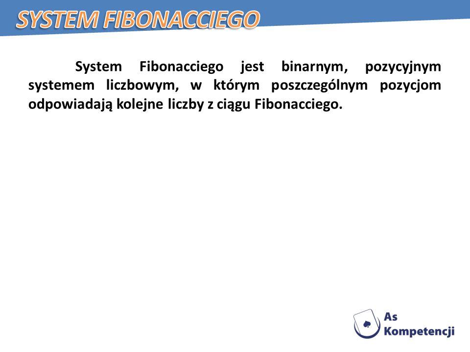 System Fibonacciego jest binarnym, pozycyjnym systemem liczbowym, w którym poszczególnym pozycjom odpowiadają kolejne liczby z ciągu Fibonacciego.