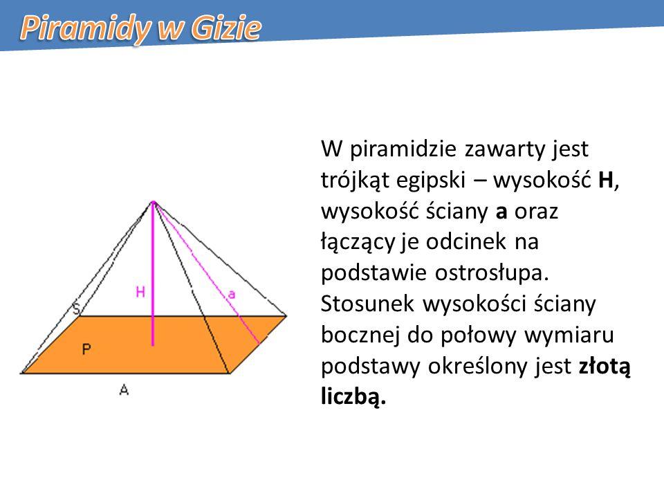 W piramidzie zawarty jest trójkąt egipski – wysokość H, wysokość ściany a oraz łączący je odcinek na podstawie ostrosłupa.