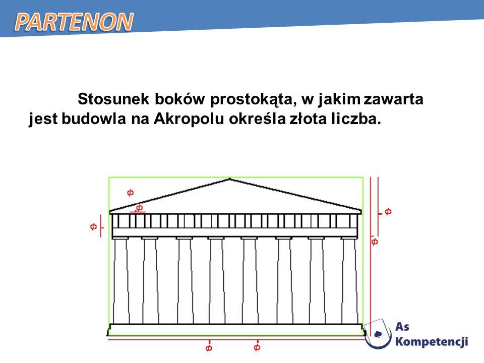 Stosunek boków prostokąta, w jakim zawarta jest budowla na Akropolu określa złota liczba.