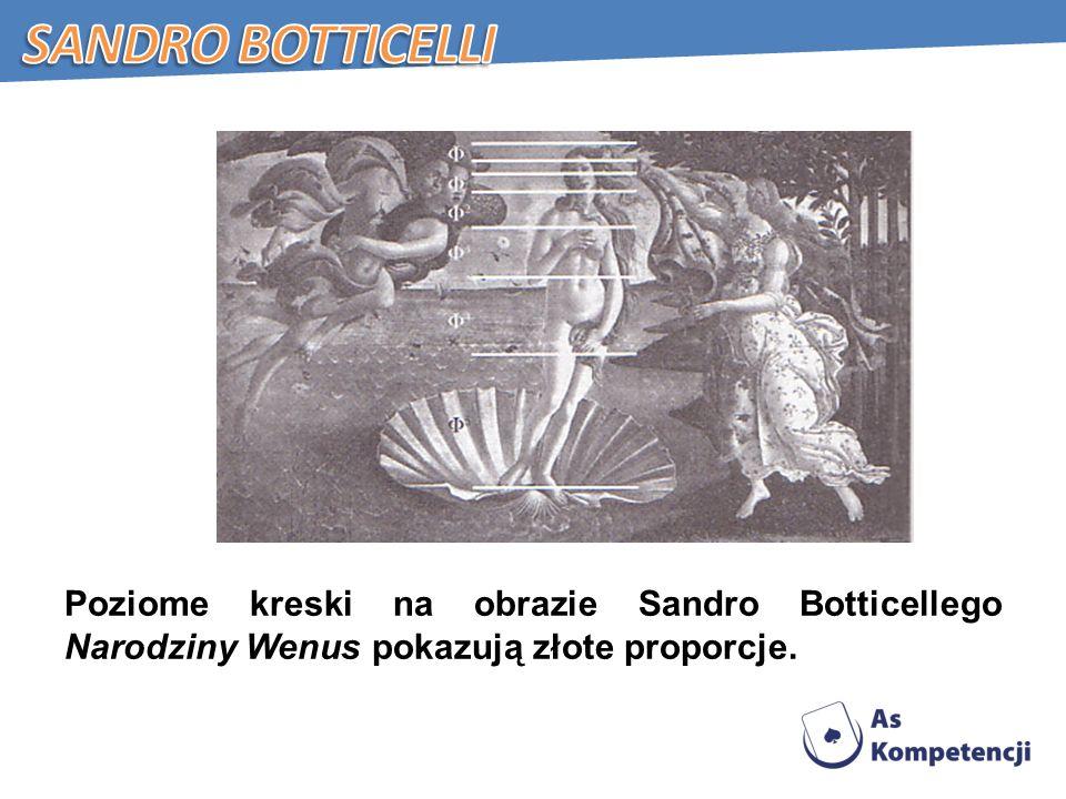 Poziome kreski na obrazie Sandro Botticellego Narodziny Wenus pokazują złote proporcje.