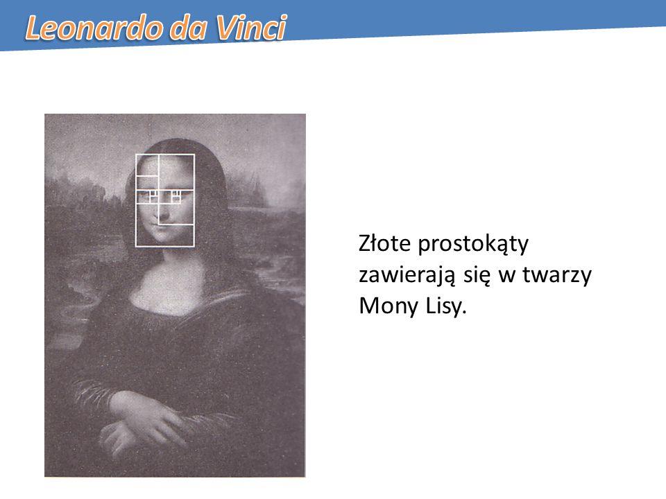 Złote prostokąty zawierają się w twarzy Mony Lisy.