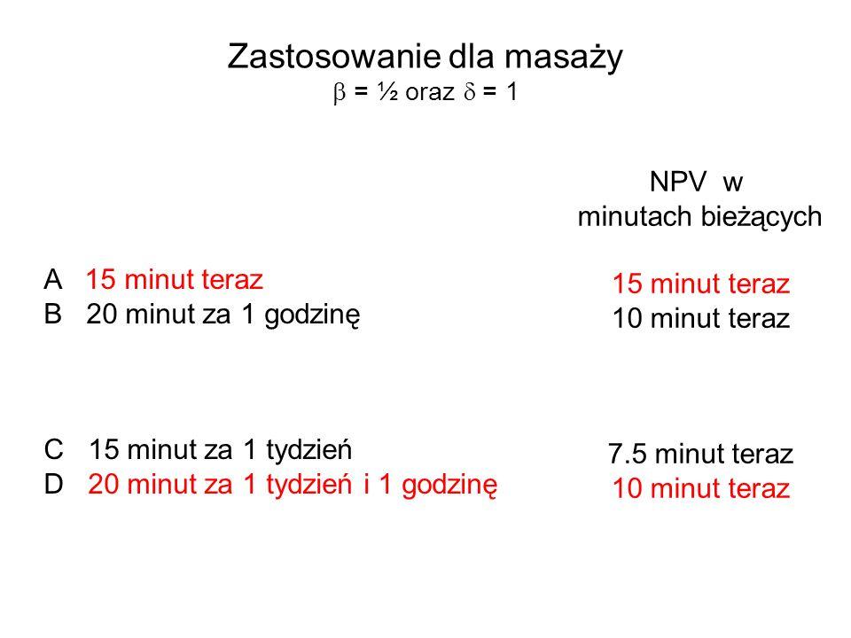Zastosowanie dla masaży = ½ oraz = 1 A 15 minut teraz B 20 minut za 1 godzinę C 15 minut za 1 tydzień D 20 minut za 1 tydzień i 1 godzinę NPV w minuta