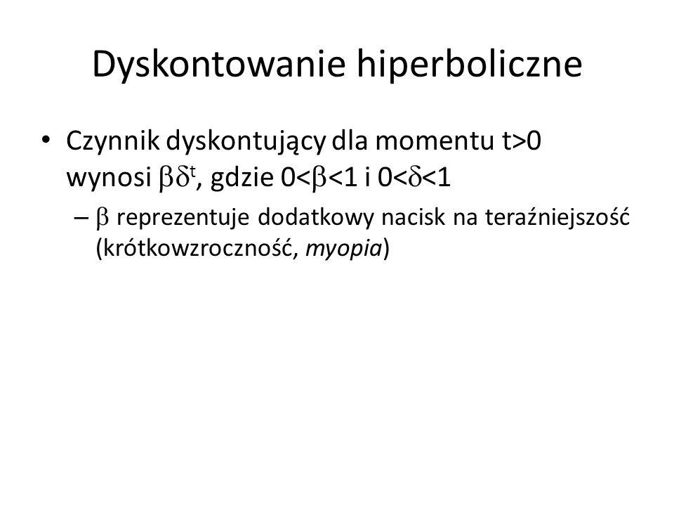 Dyskontowanie hiperboliczne Czynnik dyskontujący dla momentu t>0 wynosi t, gdzie 0< <1 i 0< <1 – reprezentuje dodatkowy nacisk na teraźniejszość (krót