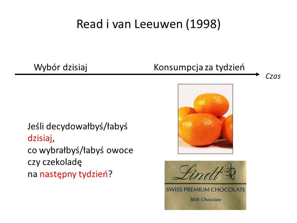 Read i van Leeuwen (1998) Czas Wybór dzisiajKonsumpcja za tydzień Jeśli decydowałbyś/łabyś dzisiaj, co wybrałbyś/łabyś owoce czy czekoladę na następny