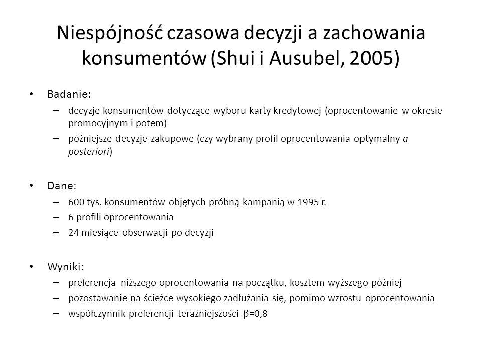Niespójność czasowa decyzji a zachowania konsumentów (Shui i Ausubel, 2005) Badanie: – decyzje konsumentów dotyczące wyboru karty kredytowej (oprocent