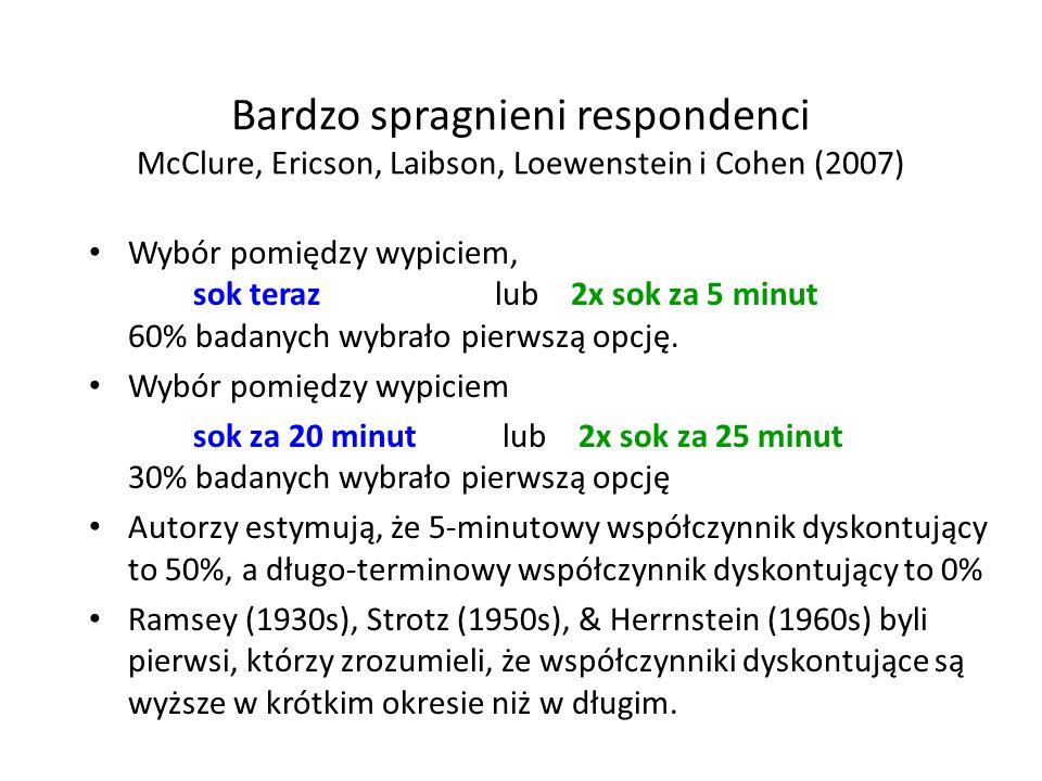 Bardzo spragnieni respondenci McClure, Ericson, Laibson, Loewenstein i Cohen (2007) Wybór pomiędzy wypiciem, sok teraz lub 2x sok za 5 minut 60% badan