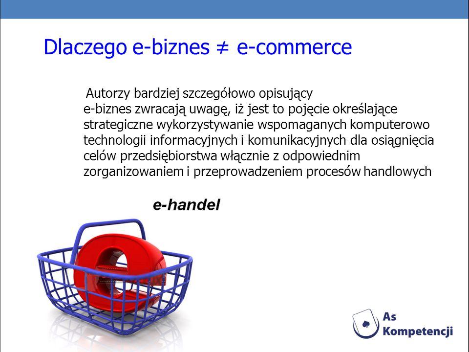 Dlaczego e-biznes e-commerce Autorzy bardziej szczegółowo opisujący e-biznes zwracają uwagę, iż jest to pojęcie określające strategiczne wykorzystywan