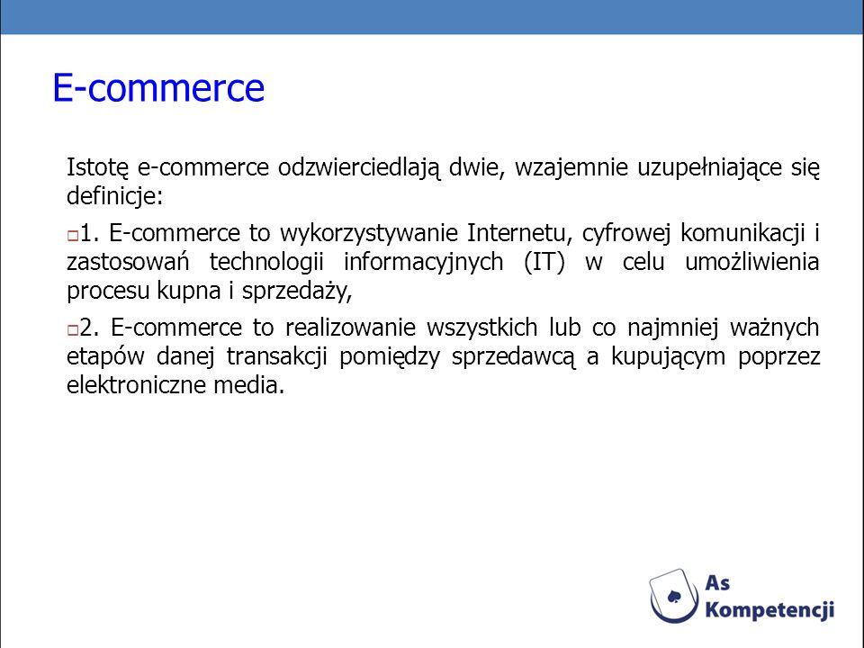E-commerce Istotę e-commerce odzwierciedlają dwie, wzajemnie uzupełniające się definicje: 1. E-commerce to wykorzystywanie Internetu, cyfrowej komunik