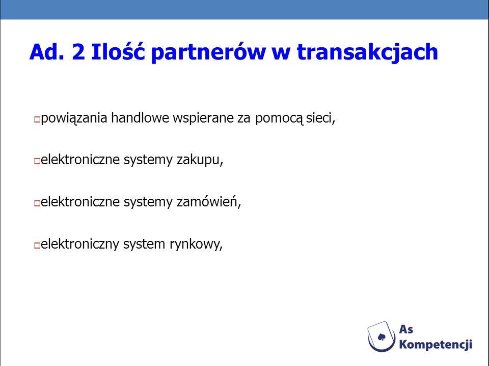 Ad. 2 Ilość partnerów w transakcjach powiązania handlowe wspierane za pomocą sieci, elektroniczne systemy zakupu, elektroniczne systemy zamówień, elek
