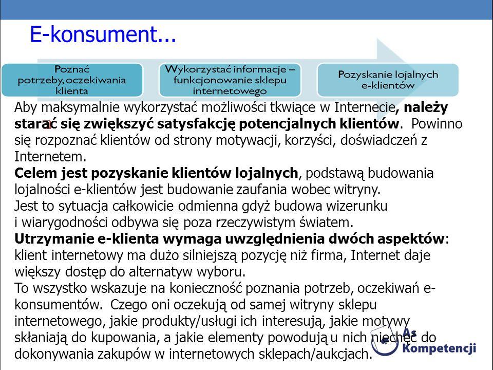E-konsument... Aby maksymalnie wykorzystać możliwości tkwiące w Internecie, należy starać się zwiększyć satysfakcję potencjalnych klientów. Powinno si