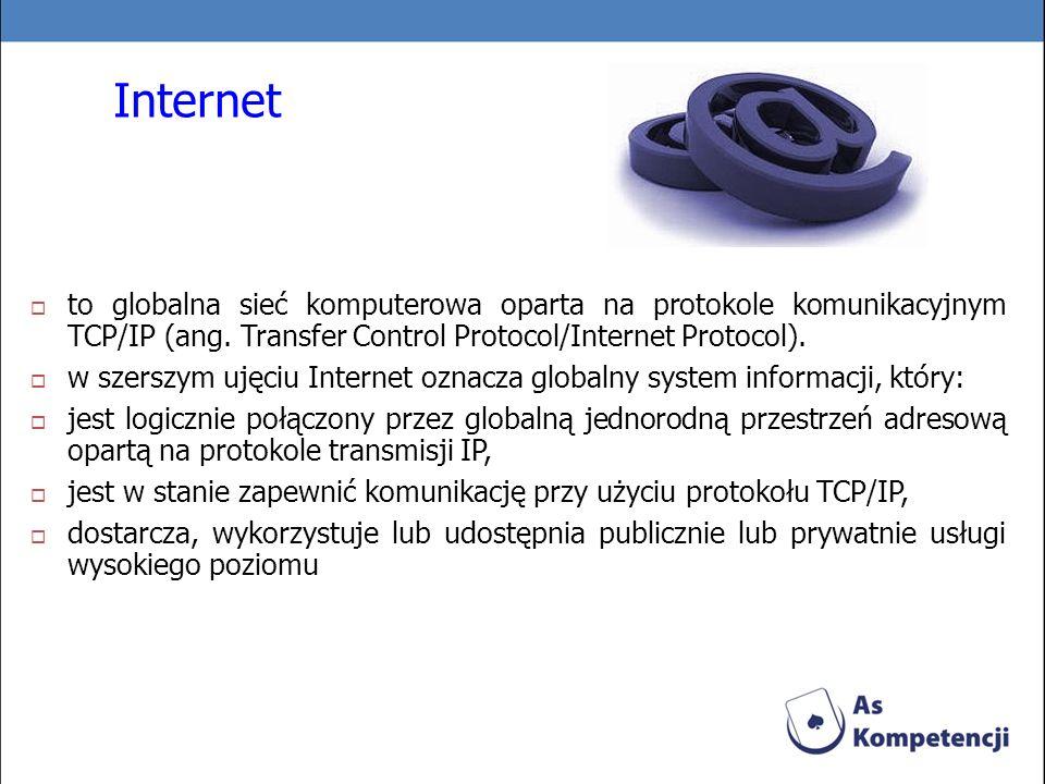Internet to globalna sieć komputerowa oparta na protokole komunikacyjnym TCP/IP (ang. Transfer Control Protocol/Internet Protocol). w szerszym ujęciu