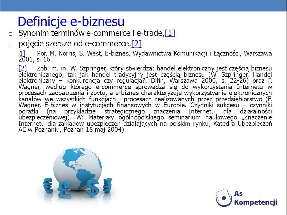 Definicje e-biznesu Synonim terminów e-commerce i e-trade,[1][1] pojęcie szersze od e-commerce.[2][2] [ 1] [ 1] Por. M. Norris, S. West, E-biznes, Wyd