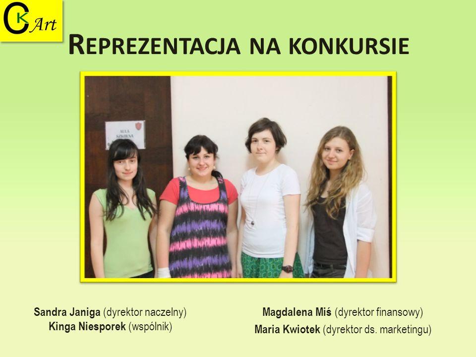 R EPREZENTACJA NA KONKURSIE Magdalena Miś (dyrektor finansowy) Maria Kwiotek (dyrektor ds. marketingu) Sandra Janiga (dyrektor naczelny) Kinga Niespor