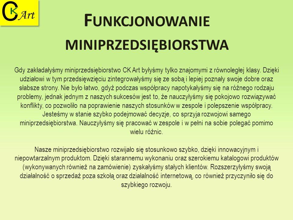 F UNKCJONOWANIE MINIPRZEDSIĘBIORSTWA Gdy zakładałyśmy miniprzedsiębiorstwo CK Art byłyśmy tylko znajomymi z równoległej klasy. Dzięki udziałowi w tym