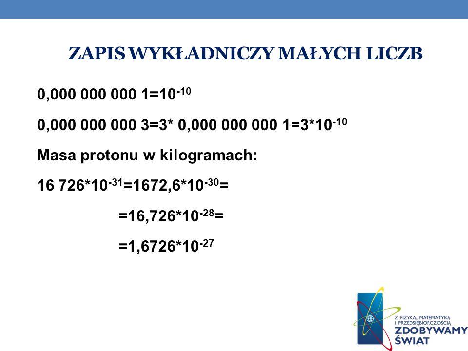 ZAPIS WYKŁADNICZY MAŁYCH LICZB 0,000 000 000 1=10 -10 0,000 000 000 3=3* 0,000 000 000 1=3*10 -10 Masa protonu w kilogramach: 16 726*10 -31 =1672,6*10