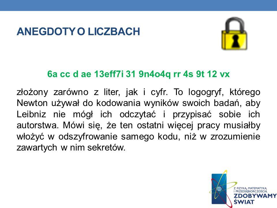 ANEGDOTY O LICZBACH 6a cc d ae 13eff7i 31 9n4o4q rr 4s 9t 12 vx złożony zarówno z liter, jak i cyfr. To logogryf, którego Newton używał do kodowania w