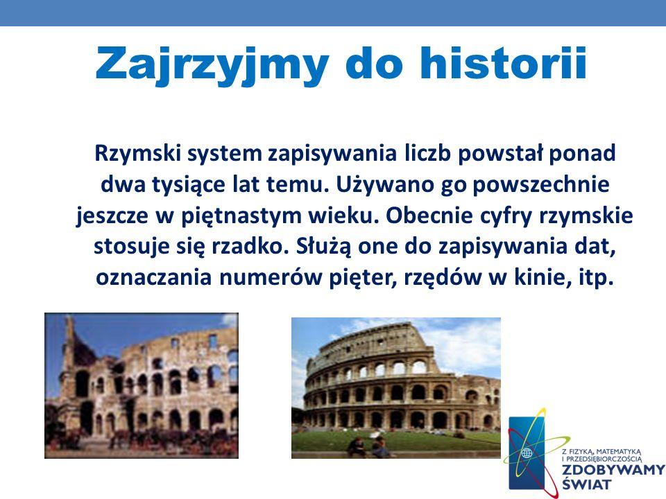 Rzymski system zapisywania liczb powstał ponad dwa tysiące lat temu. Używano go powszechnie jeszcze w piętnastym wieku. Obecnie cyfry rzymskie stosuje