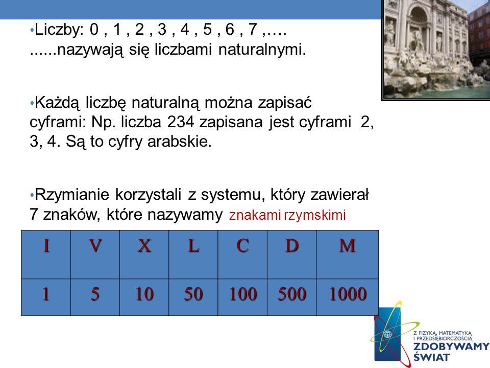 Liczby: 0, 1, 2, 3, 4, 5, 6, 7,….......nazywają się liczbami naturalnymi. Każdą liczbę naturalną można zapisać cyframi: Np. liczba 234 zapisana jest c
