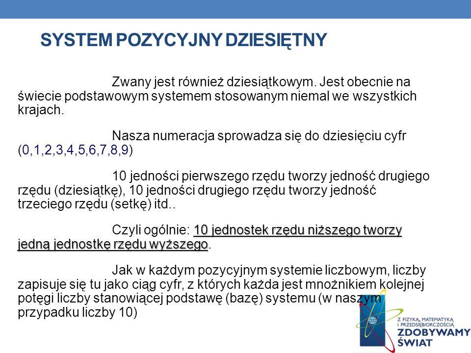 SYSTEM POZYCYJNY DZIESIĘTNY Zwany jest również dziesiątkowym. Jest obecnie na świecie podstawowym systemem stosowanym niemal we wszystkich krajach. Na