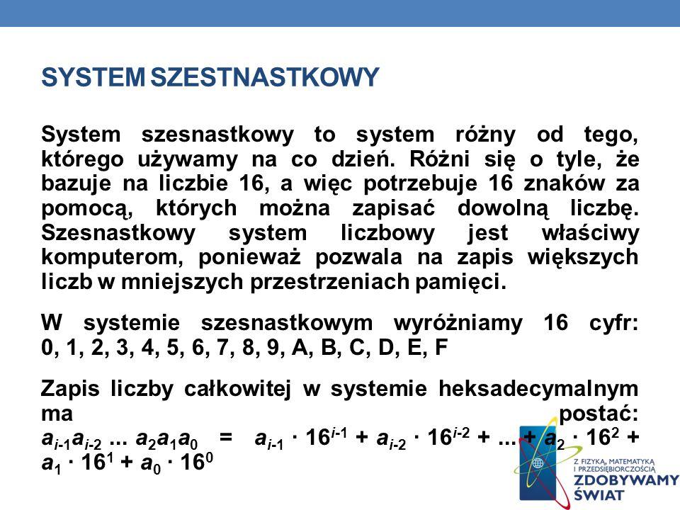 SYSTEM SZESTNASTKOWY System szesnastkowy to system różny od tego, którego używamy na co dzień. Różni się o tyle, że bazuje na liczbie 16, a więc potrz