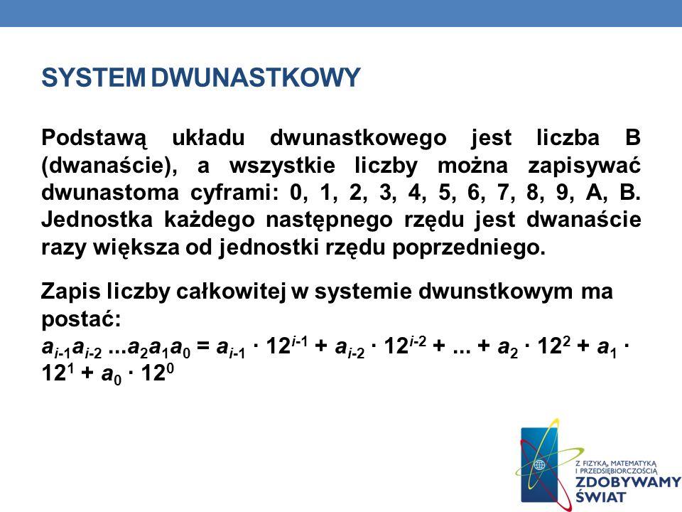 SYSTEM DWUNASTKOWY Podstawą układu dwunastkowego jest liczba B (dwanaście), a wszystkie liczby można zapisywać dwunastoma cyframi: 0, 1, 2, 3, 4, 5, 6