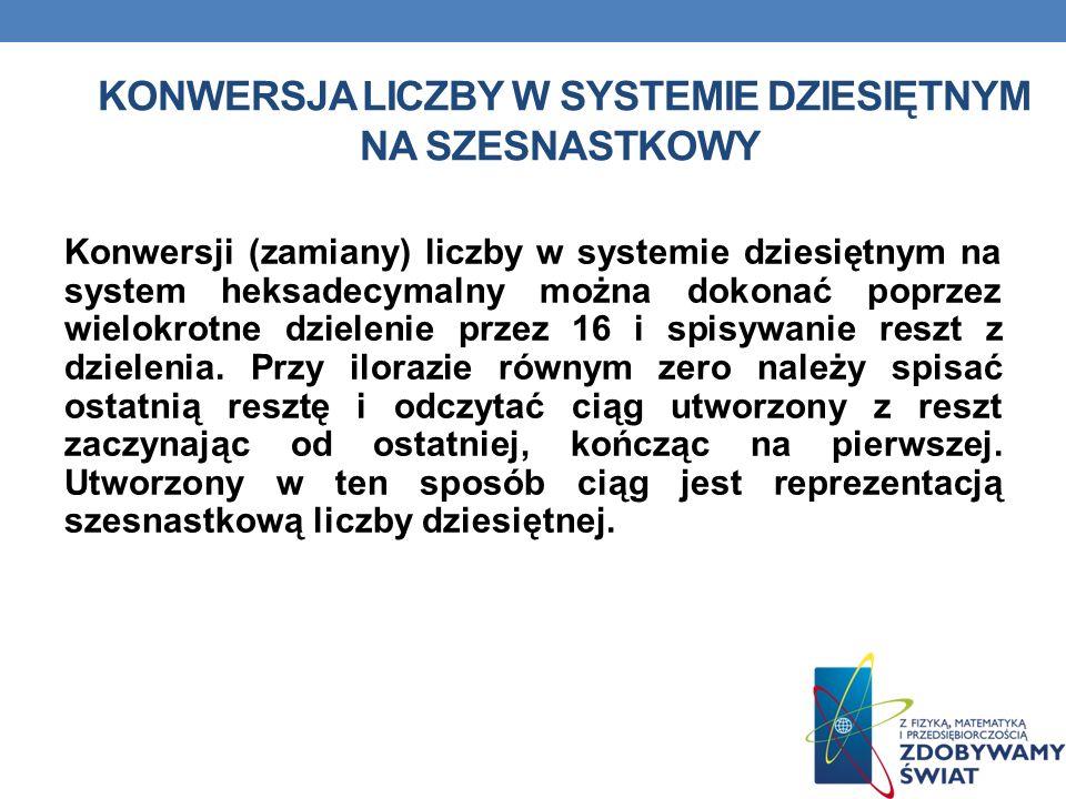 KONWERSJA LICZBY W SYSTEMIE DZIESIĘTNYM NA SZESNASTKOWY Konwersji (zamiany) liczby w systemie dziesiętnym na system heksadecymalny można dokonać poprz