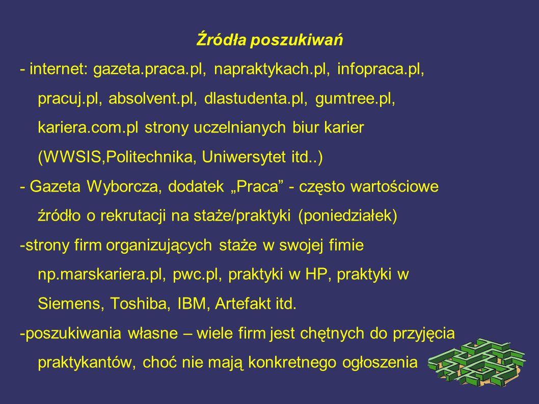 Źródła poszukiwań - internet: gazeta.praca.pl, napraktykach.pl, infopraca.pl, pracuj.pl, absolvent.pl, dlastudenta.pl, gumtree.pl, kariera.com.pl stro