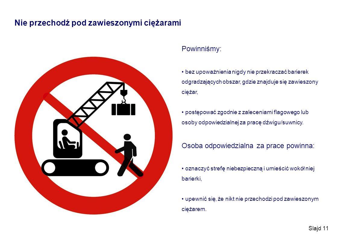Slajd 11 Nie przechodź pod zawieszonymi ciężarami Powinniśmy: bez upoważnienia nigdy nie przekraczać barierek odgradzających obszar, gdzie znajduje si
