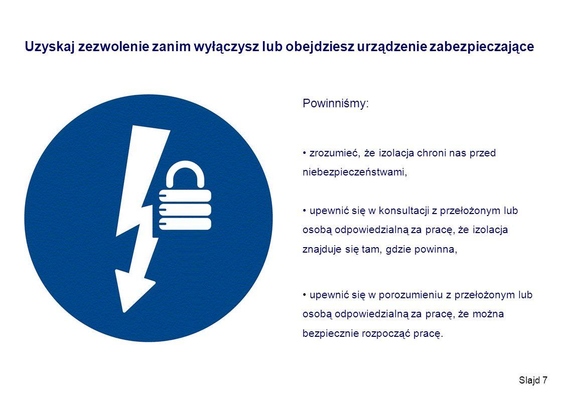 Slajd 7 Uzyskaj zezwolenie zanim wyłączysz lub obejdziesz urządzenie zabezpieczające Powinniśmy: zrozumieć, że izolacja chroni nas przed niebezpieczeń