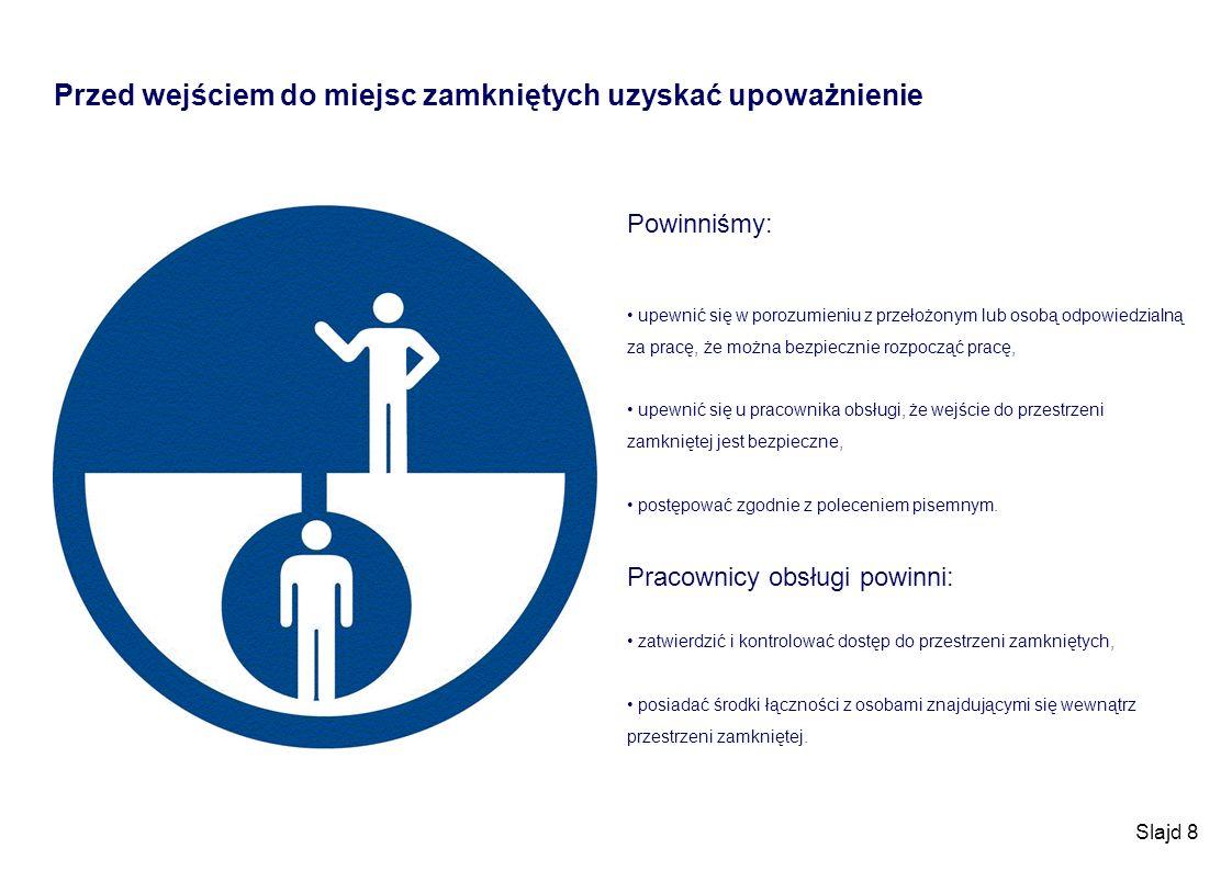 Slajd 8 Przed wejściem do miejsc zamkniętych uzyskać upoważnienie Powinniśmy: upewnić się w porozumieniu z przełożonym lub osobą odpowiedzialną za pra