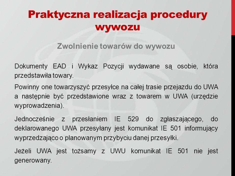 Zwolnienie towarów do wywozu Dokumenty EAD i Wykaz Pozycji wydawane są osobie, która przedstawiła towary.
