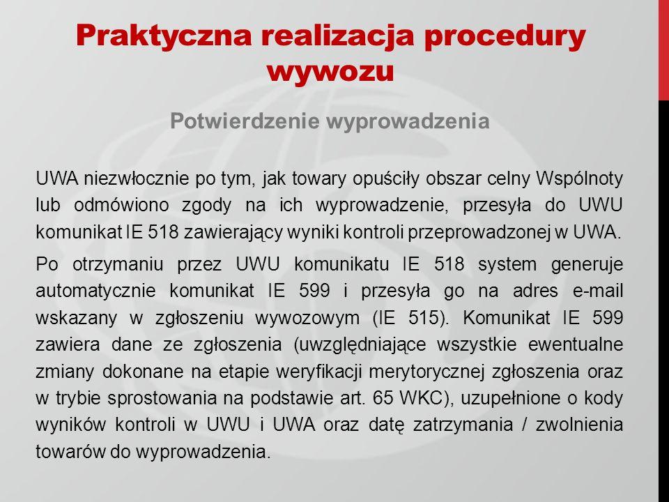Potwierdzenie wyprowadzenia UWA niezwłocznie po tym, jak towary opuściły obszar celny Wspólnoty lub odmówiono zgody na ich wyprowadzenie, przesyła do UWU komunikat IE 518 zawierający wyniki kontroli przeprowadzonej w UWA.