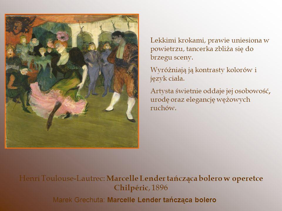 Lekkimi krokami, prawie uniesiona w powietrzu, tancerka zbliża się do brzegu sceny. Wyróżniają ją kontrasty kolorów i język ciała. Artysta świetnie od