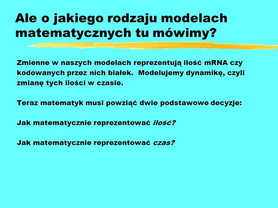 Ale o jakiego rodzaju modelach matematycznych tu mówimy? Zmienne w naszych modelach reprezentują ilość mRNA czy kodowanych przez nich białek. Modeluje