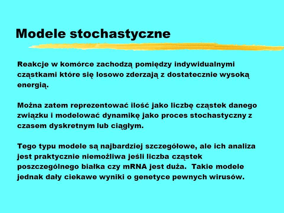 Modele stochastyczne Reakcje w komórce zachodzą pomiędzy indywidualnymi cząstkami które się losowo zderzają z dostatecznie wysoką energią. Można zatem