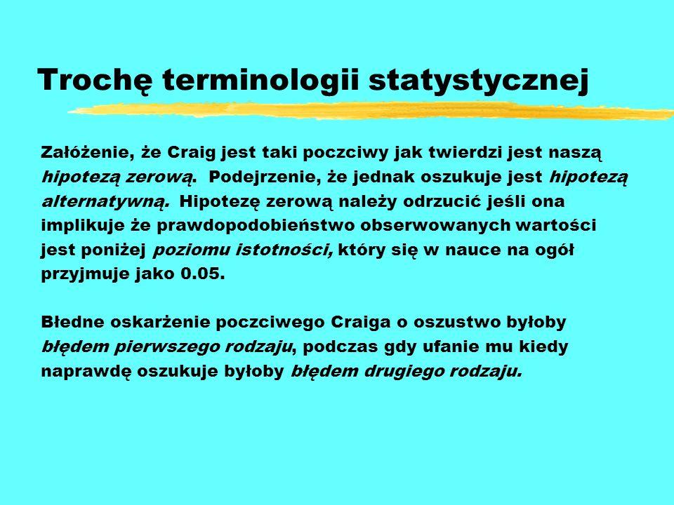 Trochę terminologii statystycznej Załóżenie, że Craig jest taki poczciwy jak twierdzi jest naszą hipotezą zerową. Podejrzenie, że jednak oszukuje jest