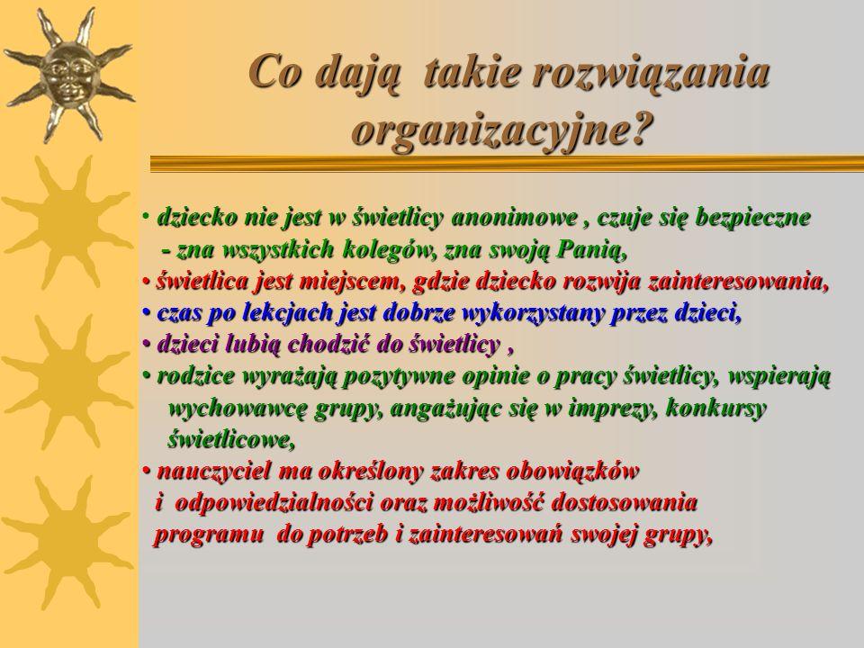 Co dają takie rozwiązania organizacyjne? Co dają takie rozwiązania organizacyjne? dziecko nie jest w świetlicy anonimowe, czuje się bezpieczne - zna w