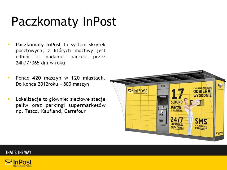 Paczkomaty InPost Paczkomaty InPost to system skrytek pocztowych, z których możliwy jest odbiór i nadanie paczek przez 24h/7/365 dni w roku Ponad 420