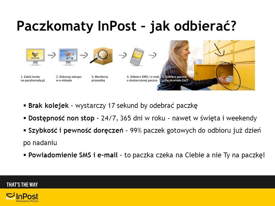 Paczkomaty InPost – jak odbierać? Brak kolejek – wystarczy 17 sekund by odebrać paczkę Dostępność non stop – 24/7, 365 dni w roku – nawet w święta i w