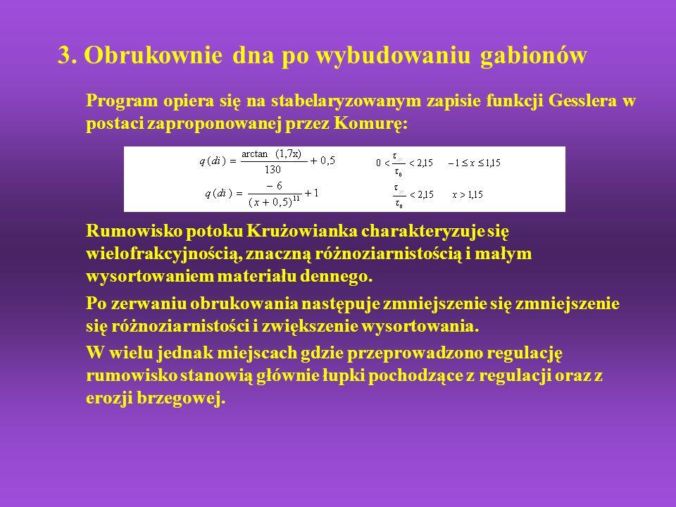 3. Obrukownie dna po wybudowaniu gabionów Program opiera się na stabelaryzowanym zapisie funkcji Gesslera w postaci zaproponowanej przez Komurę: Rumow