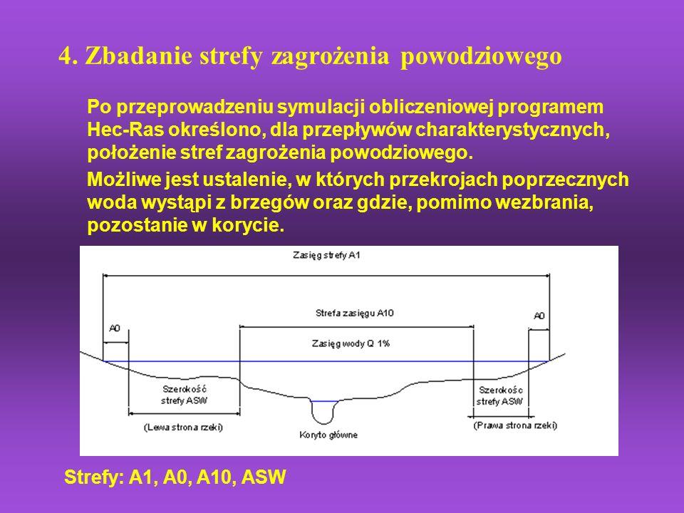 4. Zbadanie strefy zagrożenia powodziowego Po przeprowadzeniu symulacji obliczeniowej programem Hec-Ras określono, dla przepływów charakterystycznych,