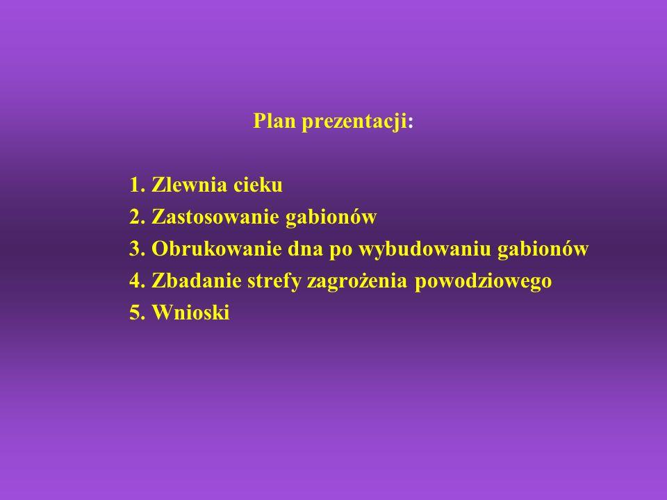 Plan prezentacji: 1. Zlewnia cieku 2. Zastosowanie gabionów 3. Obrukowanie dna po wybudowaniu gabionów 4. Zbadanie strefy zagrożenia powodziowego 5. W