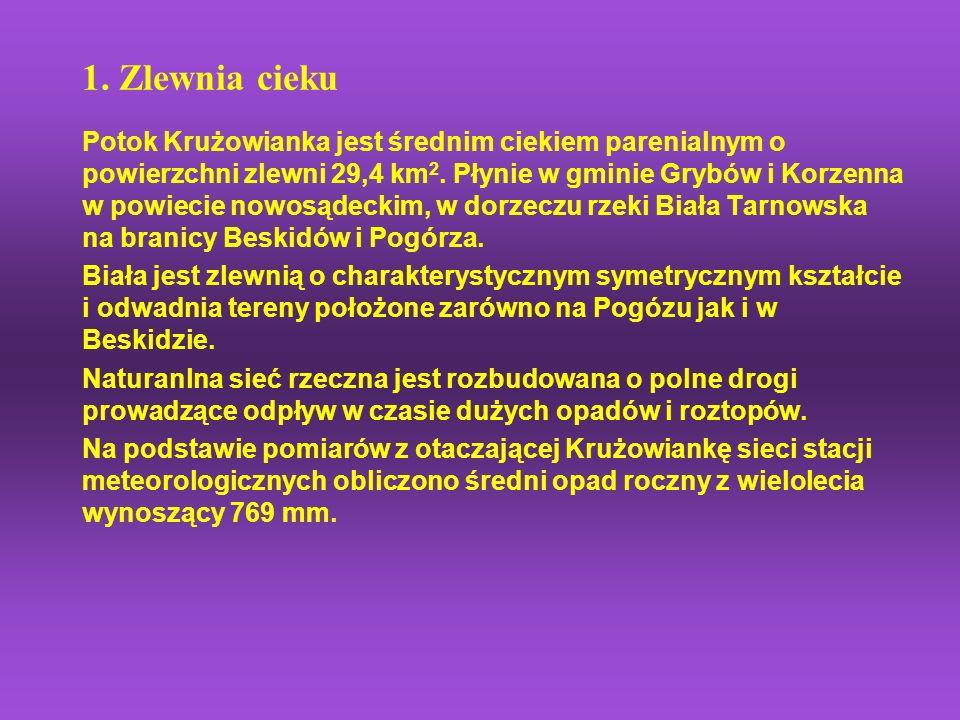 1. Zlewnia cieku Potok Krużowianka jest średnim ciekiem parenialnym o powierzchni zlewni 29,4 km 2. Płynie w gminie Grybów i Korzenna w powiecie nowos