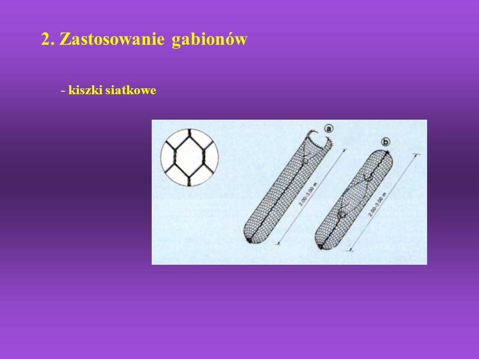 2. Zastosowanie gabionów - kiszki siatkowe